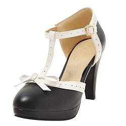 T Strap Pumps Blockabsatz High Heels Plateau Vintage Retro Rockabilly Damen Schuhe(Schwarz,36) von MISSUIT