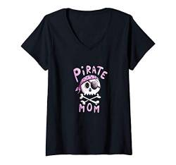 Damen Pirate Mom Piraten Mama Seeräuber Kapitän Piratenflagge T-Shirt mit V-Ausschnitt von MODARTIS - Lustige Cartoon Fun T-Shirts