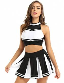 MSemis Damen Sexy Cheerleading Kostüm Cheer Leader Uniform Karneval Fasching Party Halloween Kostüm Kleid Minirock mit Crop Top BH Schwarz M von MSemis