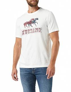 MUSTANG Herren Alex C Iconic T-Shirt, Beige (Cloud Dancer 2020), Medium von MUSTANG
