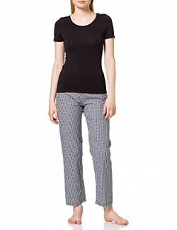 Maglev Essentials Damen Pyjama-Set (2-teilig) aus Baumwolle, Mehrfarbig (Black Mix Check Print Bottom, Black Short Sleeve Top), 36 (Herstellergröße: Small) von Maglev Essentials
