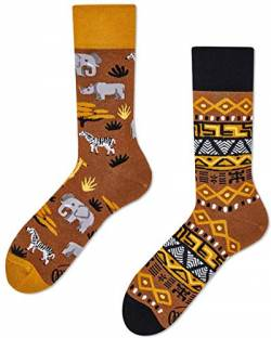 Many Mornings Socken - Safari Trip - Nashorn, Zebra, Elefant, Giraffe Socken (43-46, Safari Trip) von Many Mornings