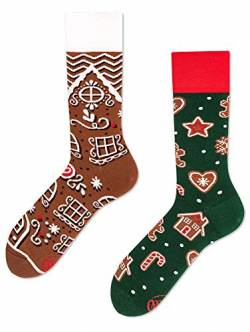 Many Mornings unisex Socken Gingerbread Man, White, Green, Red, Brown, 43-46 von Many Mornings
