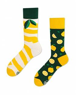Many Mornings - verrückte Mix & Match Socken - The Lemons/Zitrone Gr. 35-38 von Many Mornings