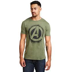 Marvel Herren T-Shirt Stencil Logo, Grün (Military Green), Medium von Marvel