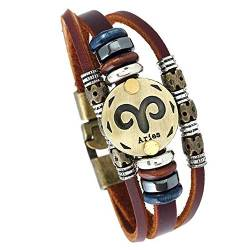 MeiPing Handgewebtes Retro Twenty Constellation Lederarmband von MeiPing
