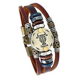 MeiPing Astrologisches Design 12 Constellation Leder Unisex Armband von MeiPing