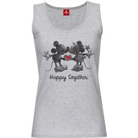 Mickey & Minnie Happy Damen Tanktop Grau Melange von Mickey Mouse