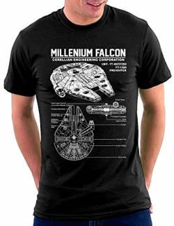 Star Millenium Falcon T-shirt, Größe XXL, Schwarz von Million Nation