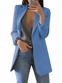 ce158d15a7b7a6 Minetom Damen Cardigan Elegant Blazer Leicht Dünn 3/4 Längere Bolero Jacke  Blazer Slim Fit