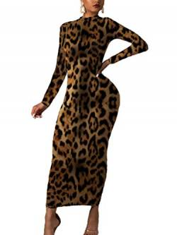 Minetom Damen Langarm Bodycon Kleid Herbst Winter Kleider Sexy Slim Club Party Cocktail Business Leopard Midikleid Abendkleid Bleistftkleid B Leopard 02 42 von Minetom