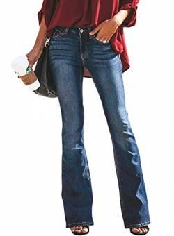 7f76ddf680a98c Minetom Schlaghosen Damen Jeans Hosen Stretch Skinny Destroyed Style Denim  Jeanshose Retro Hohe Taille Flared Pants