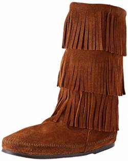 Minnetonka Damen 3-LAYER FRINGE BOOT Mokassin Stiefel, Braun (Brown 2), 37 von Minnetonka