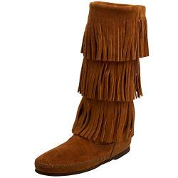 Minnetonka Calf Hi 3-Layer Fringe Boot 1638 Damen Mokassin Stiefel, Braun (Dusty BrownDusty Brown), 36 EU von Minnetonka