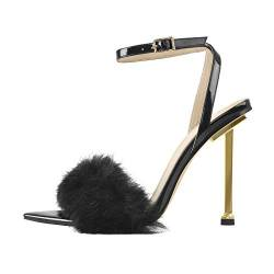 MissHeel Women's High Heels Elegant Stilettos Sandals with Faux Fur Buckle Strap Summer Shoes Black EU 38 von MissHeel