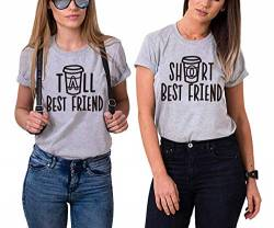 Mixcept Best Friends Sister Tshirt Damen T Shirts BFF 1 Stücke-Grau-Short-S von Mixcept