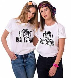 Mixcept Best Friends Sister Tshirt Damen T Shirts BFF 1 Stücke-Weiß-Short-S von Mixcept