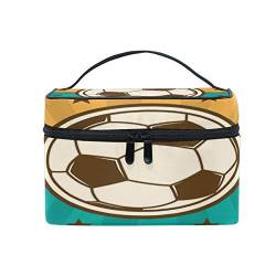 Makeup Bag, Soccer Football Cosmetic Toiletry Storage Organiser Case Large Travel Handle Pouch Best Gift for Teenage Girl Women Lady von Mnsruu