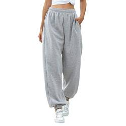 MoneRffi Damen Jogginghose Sporthosen Lange Yoga Hosen Loose Casual Jogginghose High Waist Loose Fit Elastischer Bund Freizeithosen Hohe Trainingsanzug Hosen Sweathose mit Taschen(Z#Grau,S) von MoneRffi
