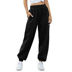 MoneRffi Damen Jogginghose Sporthose Lang Trainingshose Loose Fit Elastischer Bund Yoga Hosen Freizeithose Laufhosen Baumwolle Hohe Taile Sweathose für Frauen von MoneRffi