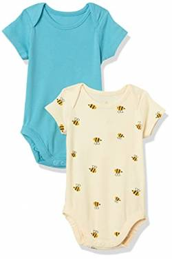 Moon and Back by Hanna Andersson 2 Pk Short Sleeve Infant-and-Toddler-Bodysuits, Mitteltürkis, 6-12 Months von Moon and Back by Hanna Andersson