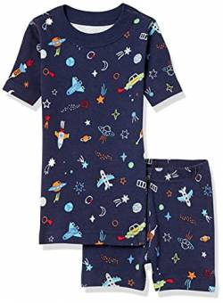 Moon and Back by Hanna Andersson Zweiteiliges kurzes Pyjama Pajama-Sets, Navy, 6-7 von Moon and Back by Hanna Andersson