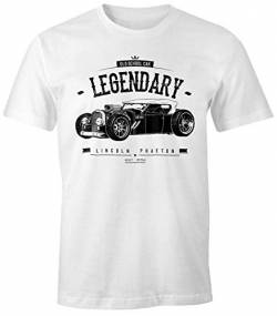 MoonWorks Herren T-Shirt, Hot Rod Retro Auto Car Oldschool Rockabilly, Fun-Shirt weiß L von MoonWorks