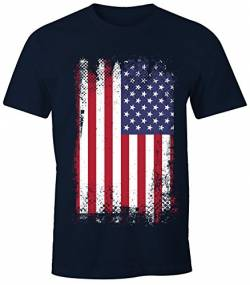 MoonWorks Herren T-Shirt - Amerika Flagge USA Flag United States of America - Comfort Fit Navy M von MoonWorks