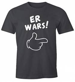 MoonWorks Herren T-Shirt Er Wars Spruch Comic Hand Fun-Shirt dunkelgrau XL von MoonWorks