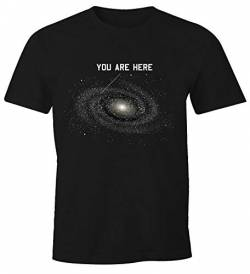 MoonWorks Herren T-Shirt Galaxy Shirt You Are here Fun-Shirt schwarz 3XL von MoonWorks