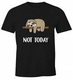 MoonWorks Lustiges Herren T-Shirt Not Today Chillen Fun-Shirt Faultier schwarz L von MoonWorks