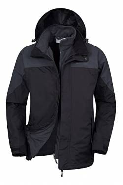 Mountain Warehouse Thunderstorm Wasserfeste 3 in 1 Herren Winterjacke, Warmer Fleecejacke, Regenjacke, Herrenjacke, Funktionsjacke, Allwetterjacke, Doppeljacke, Winter Grau XXL von Mountain Warehouse