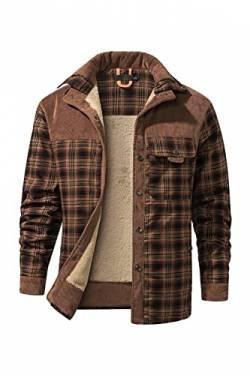 Mr.Stream Herren Thermohemd Flanellhemd Winterjacke Fleecefutter  schützendem Innenfutter Holzfällerhemd Arbeitshemd L Red Coffee von 79ec762e5c