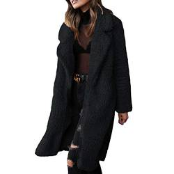 Frauen Mantel Mode Warm Streetwear Winter Für Plüschjacke Lange Outwear Revers Damen Casual Mantel Winterjacke Parka Outwear von Mxssi