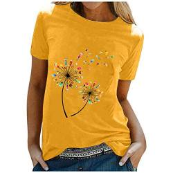 Mysight Tshirt Damen Kurzarm Sommer Oberteile Mode Farbe Gänseblümchen Drucken Tee Tops Casual Frauen Rundhals Basic Shirts Sweatshirt Pullover Teenager Tshirts Hemd Bluse Tunic Tunika Lang Top von Mysight