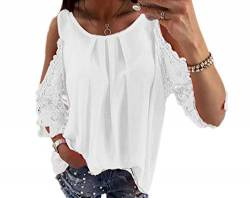 Womens Cold Shoulder T-Shirt Swing Tops, lässige Sommer Loose Flower Tops, Off Shoulder Floral Lace Cutout Shirt Bluse von N