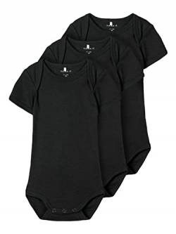 NAME IT Unisex Baby NBNBODY 3P SS SOLID 2 NOOS Strampler, Schwarz (Black Black), 50 (3er Pack) von NAME IT