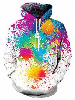 NEWISTAR Unisex Kapuzenpullover Colourful HD 3D Printed Pullover Christmas Patterned Sweatshirts for Teens Jumpers von NEWISTAR