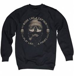 NG articlezz Herren Pullover Sailor Beard Work Like A Captain Play Like A Pirate Skull von NG articlezz