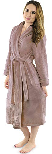 NY Threads Damen-Bademantel aus Fleece, Schalkragen, weicher Plüsch, Bademantel - Beige - Medium von NY Threads