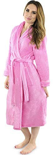 NY Threads Damen Fleece-Bademantel – Schalkragen weicher Plüsch Spa Bademantel - Pink - Medium von NY Threads