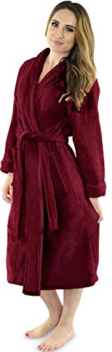NY Threads Damen Fleece-Bademantel – Schalkragen weicher Plüsch Spa Bademantel - Rot - Medium von NY Threads