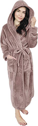 NY Threads Damen-Bademantel aus Fleece mit Kapuze, lang, Plüsch - Beige - Medium von NY Threads