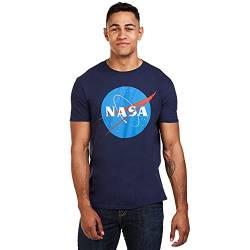 Nasa Herren Circle Logo T-Shirt, Blau (Navy Navy), Medium von Nasa