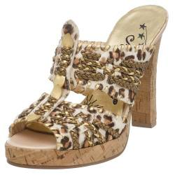 Naughty Monkey Damen Gold Card Kork Plateau Sandale, Mehrere (Leopard), 40.5 EU von Naughty Monkey