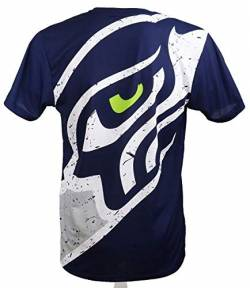 New Era Seattle Seahawks T Shirt/Tee Big Logo Back Navy - 3XL von New Era