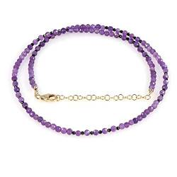 Natural Amethyst and Black Spinel Faceted Round Gemstone Necklace With Gold Plated 925 Sterling Silver chain. Jewelry Gift for Her, Valentine's Day, Christmas, Birthday, New year - 50 CM von Nirvanain