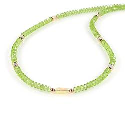 Natural Ethiopian Opal and Peridot Faceted Gemstone Necklace With Rose Gold Plated 925 Sterling Silver chain. Pendant Jewelry Gift for Her, Valentine's Day, Christmas, Birthday, New year - 50 CM von Nirvanain