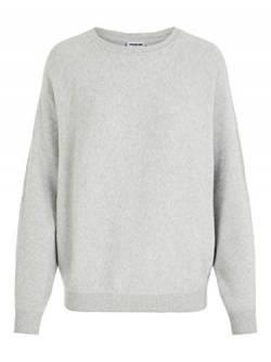 Noisy May NOS DE Damen NMSHIP L/S O-Neck Knit NOOS Pullover, Grau Light Grey Melange, 34 (Herstellergröße: XS) von Noisy May NOS DE