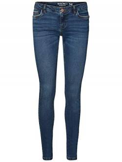 Noisy may Damen Slim Jeans NMEVE LW Pocket Piping VI877 NOOS, Blau (Dark Blue Denim), W28/L34 (Herstellergröße: 28) von Noisy may
